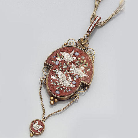 A micro mosaic necklace and pendant