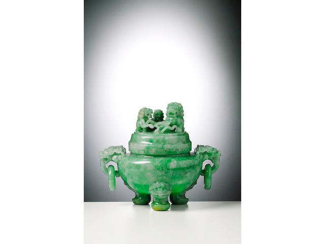 A fine jadeite tripod censer and cover Late Qing Dynasty