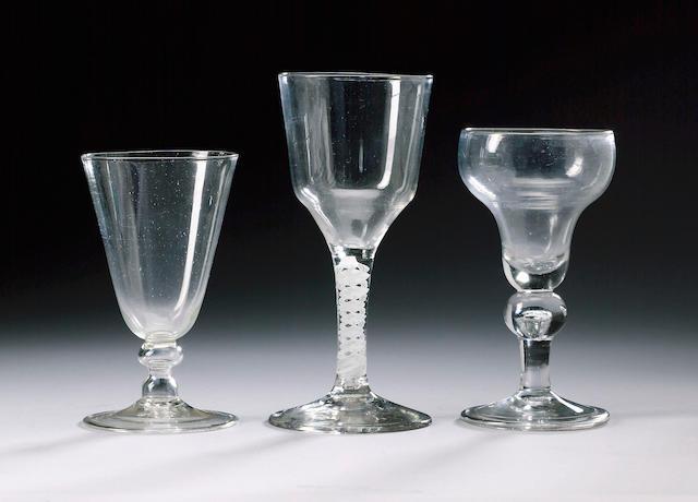 A 'single flint' lead wine glass circa 1685