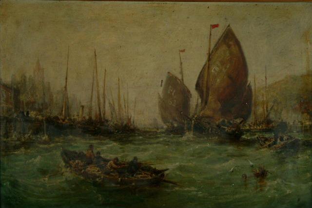 William Edward Webb (1862-1903) 'A busy harbour