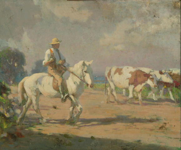 Fred Hall - A drover on horseback with cattle.