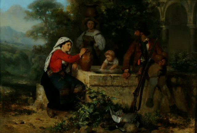 Karel Frans Philippeau (1825-1897 Dutch) 'At the fountain'