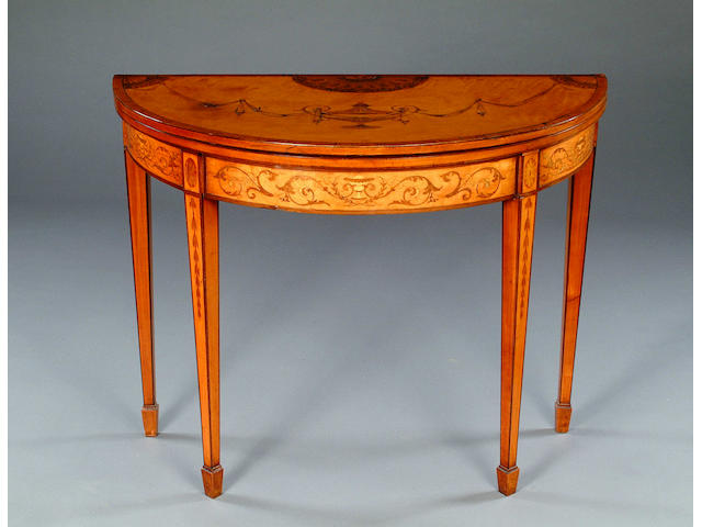A late George III satinwood and kingwood crosbanded demi-lune card table