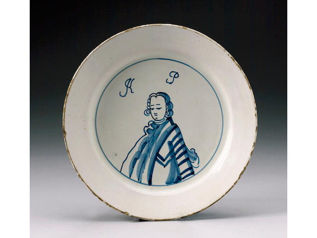 An English delft 'King of Prussia' plate circa 1760