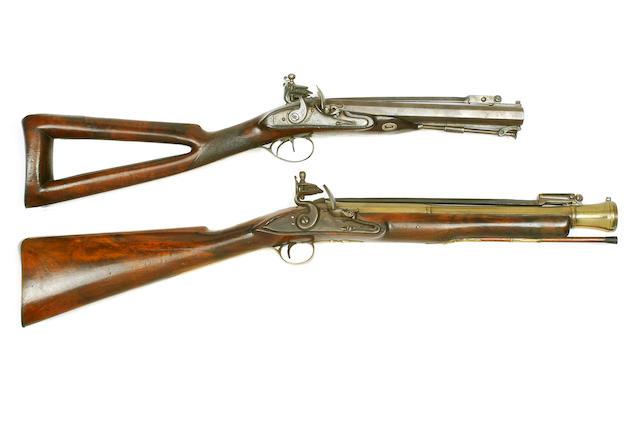 A 14-Bore D.B. Flintlock Carbine Early 19th Century