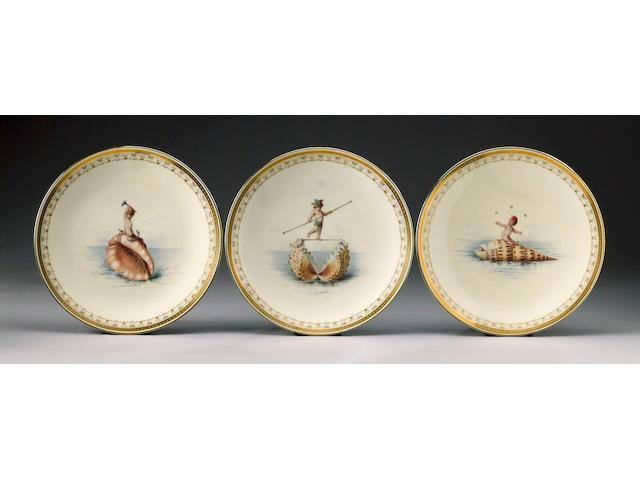 An important set of twelve Minton plates by Antonin Boullemier circa 1867