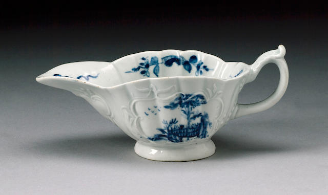 A fine Worcester low footed sauceboat circa 1754