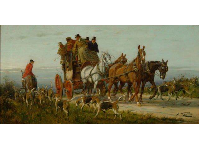 George Wright (1860-1942) 'Passing a hunt on the road, spring'