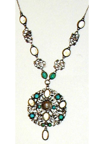 A moonstone and turquoise necklace
