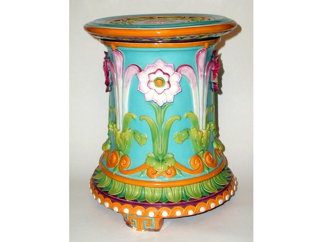 A Minton majolica garden seat, dated 1866,