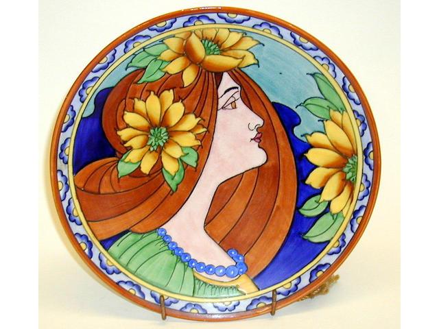 A rare Burgess & Leigh wall plate designed by Charlotte Rhead,
