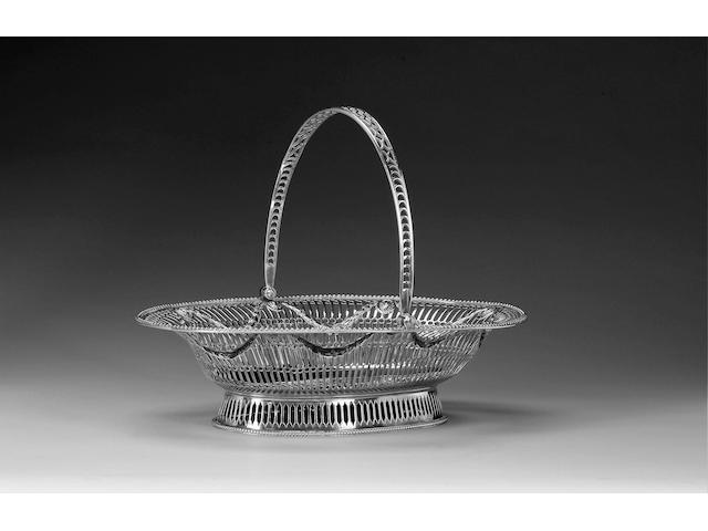 A George III silver swing-handled basket, by Burrage Davenport, 1774,