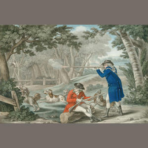 Carington Bowles (Publisher) Woodcock Shooting, hand coloured mezzotint, published 1786, (image)23.5
