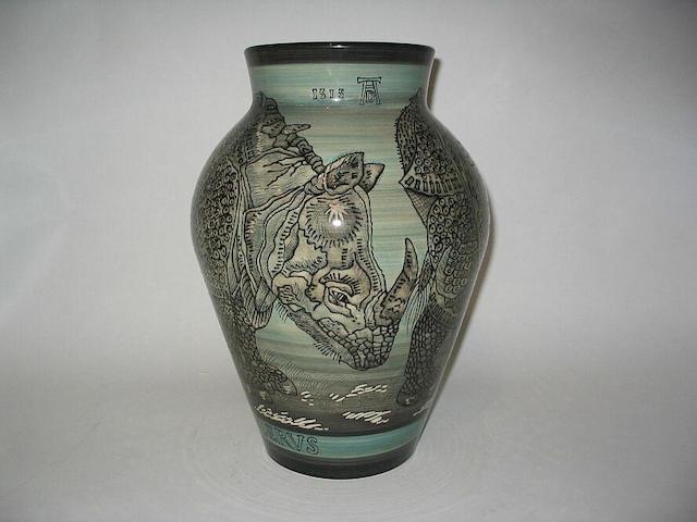 'Black Rhino after Dürer' A Vase
