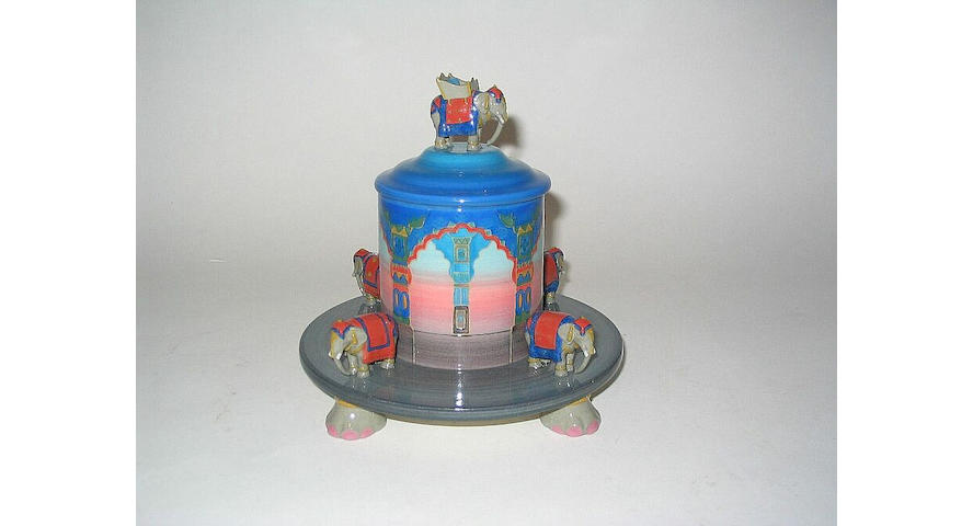'Indian Elephants' A Lidded Box