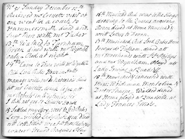 MUSIC IN LONDON AND J.C. BACH Autograph diary kept by Sir William Bretton, Privy Purse to the young