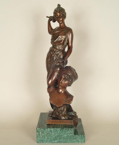 E.Villanis: A bronze figure of a sculptress