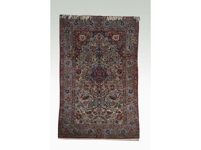 A Kashan part silk prayer rug, 1.31 x 2.05m