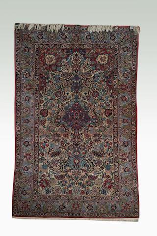A Kashan part silk prayer rug, 1.31 x 2.05m