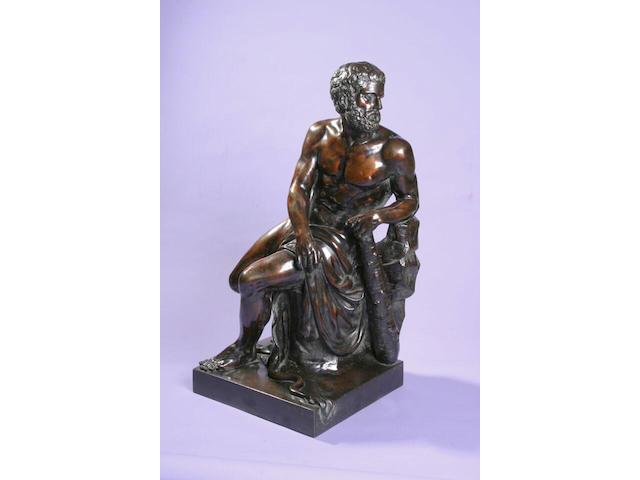 A 19th Century bronze figure of Hercules,