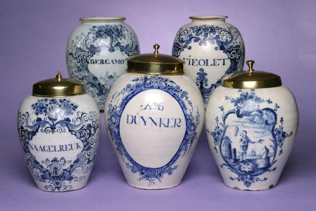 A mid 18th Century Dutch Delft painted tobacco jar,