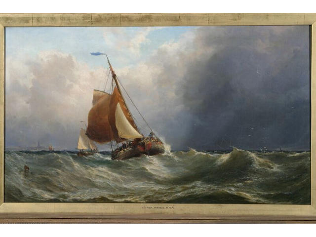 Edwin Hayes Dutch barges in a stiff breeze off the coast, signed and dated 1869, oil on canvas, 48 x 84cm.