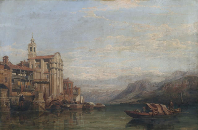 After Clarkson Stanfield Tranquil Italian lake scene with boats off a jetty, oil on canvas, 51 x 76cm.