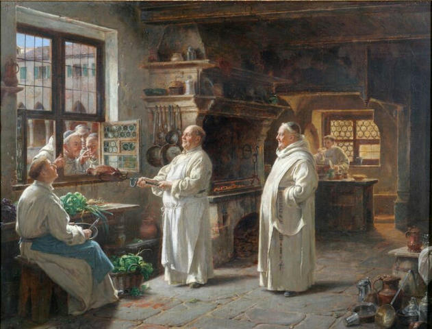 Adolf Humborg A monastery kitchen with monk inviting three others, at the window, to inspect their meal, signed, oil on panel, 49 x 65cm.