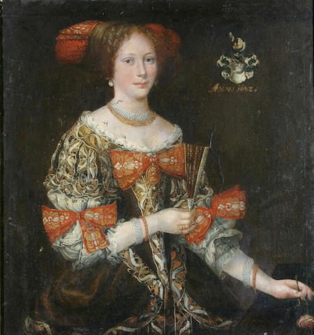 Florentine School Portrait of a young lady, wearing elaborately embroidered dress, pearl and gold necklace, and headdress, waist length, holding a fan in one hand and a rose in the other, oil on canvas, 94 x 86cm.