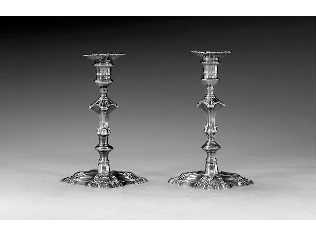 A pair of George II silver candlesticks, by Thomas Heming, London 1750,