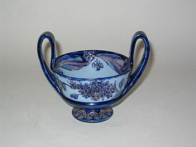 'Lilacs' A Twin-Handled Florian Ware Coupe
