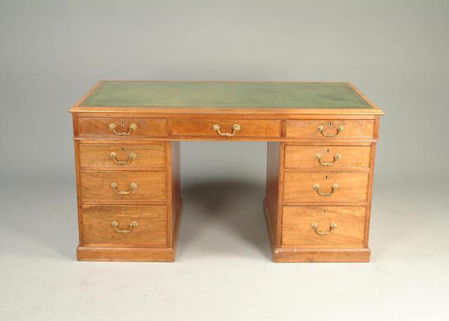 A George III style walnut partners desk