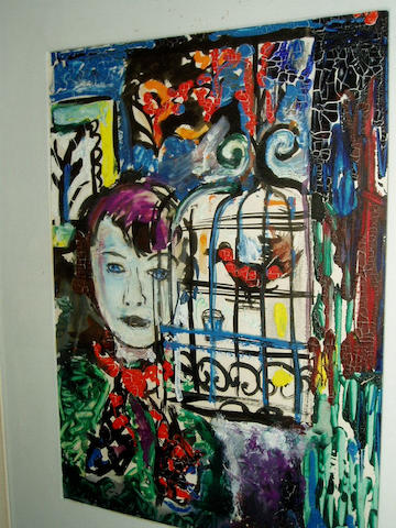 Richard Weisbrod (c.1952) Girl with birdcage 30 x 21.5cm