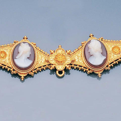 An archaeological revival gold and hardstone cameo necklace,