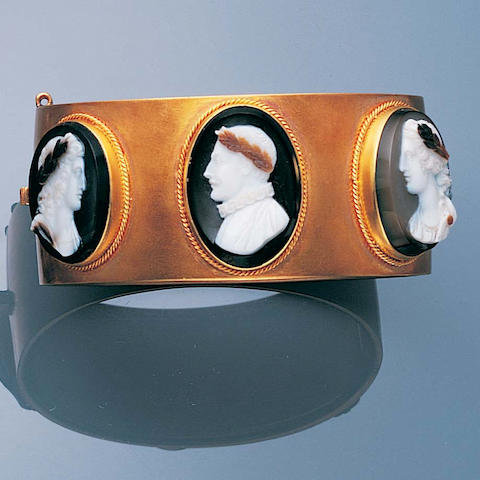 A pair of Victorian gold and hardstone cameo bangles (2)
