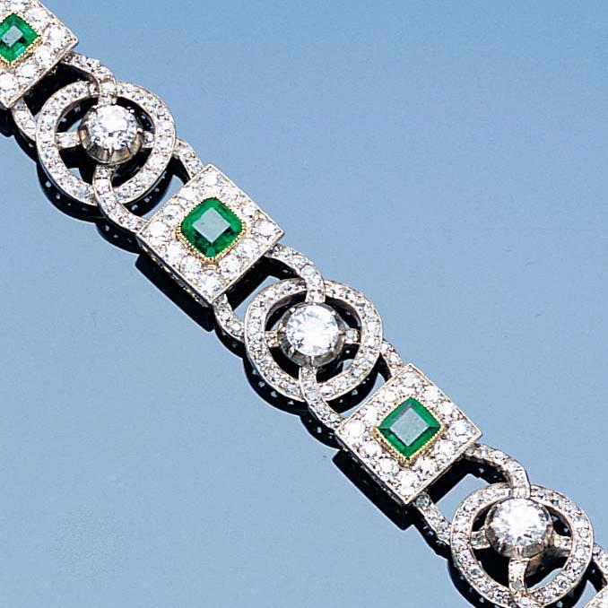 A late 19th Century emerald and diamond bracelet