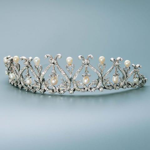A late Victorian diamond and pearl tiara