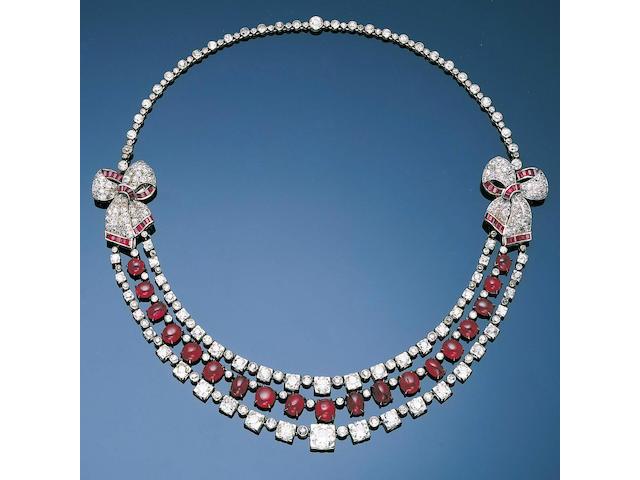 An art deco ruby and diamond festoon necklace
