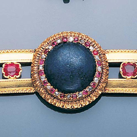 A late 19th century lapis lazuli and gold bracelet
