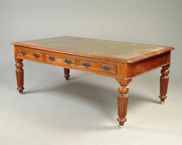 A Victorian mahogany partners library table