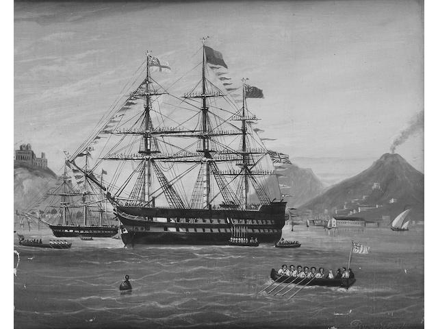 Lo Burke (mid 19th Century) Ships off the coast of Naples 38.5 x 47cm (15¼ x 18½in), and a companion, a pair.