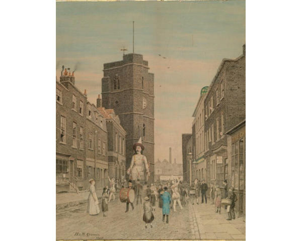 "Henry and Walter Greaves (19th/20th century) ""Church Street, Old Chelsea"", carnival procession in Church street with figures in costume and a drummer, 60.5 x 48cm"