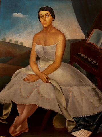 Dimitrios Galanis (Greek 1879-1966) La Danseuse/ Portrait de mademoiselle Schwartz de l' Opéra 151 x 110 cm. ( 59 1/4 x 45 1/8 in.)