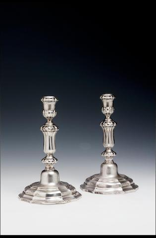 A good pair of 18th Century Belgian candlesticks by Gilles Berryer, Liège, 1747/48,