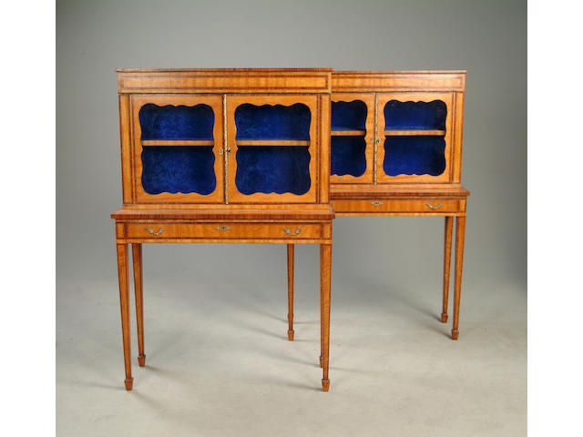 A pair of satinwood and rosewood banded display cabinets
