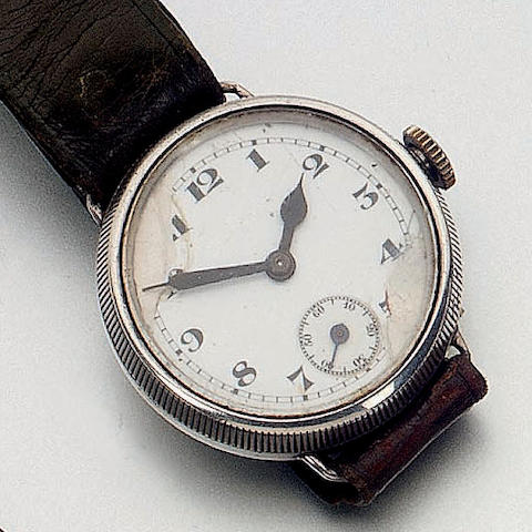 Rolex. An early silver wristwatchGlasgow Import mark for 1928