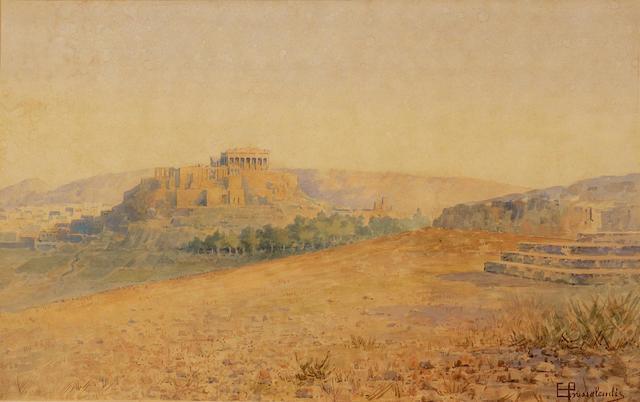 Emilios Prossalentis (Greek 1859-1926) View of the Acropolis 30 x 48 cm. (11 3/4 x 18 7/8 in.)