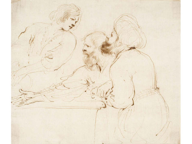 Giovanni Francesco Barbieri, called il Guercino (1591-1666) Three half-length figures: a seated oriental, another male figure and a youth  195 x 230mm
