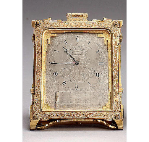 "A mid 19th century gilt brass calendar strut timepiece in the manner of Thomas Cole Signed on the regulation cover ""C.F.HANCOCK a successor of STORR & MORTIMER'S By Appointment to HM. the QUEEN ADELAIDE, HIM the EMPEROR of RUSSIA 39 Bruton St, LONDON"""