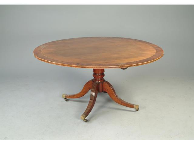 A Regency mahogany and crossbanded tilt top breakfast table